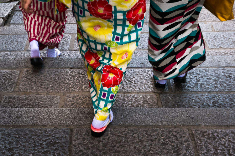 Women in kimono, a traditional Japanese costume walking. Ancient Autumn Close-up Clothing Cloud - Sky Color Colorful Colors Gate Japan Kimono Outdoors Place Of Worship Pray Shirakawa-go Shirakawago Skirt Skirts Traditions Women