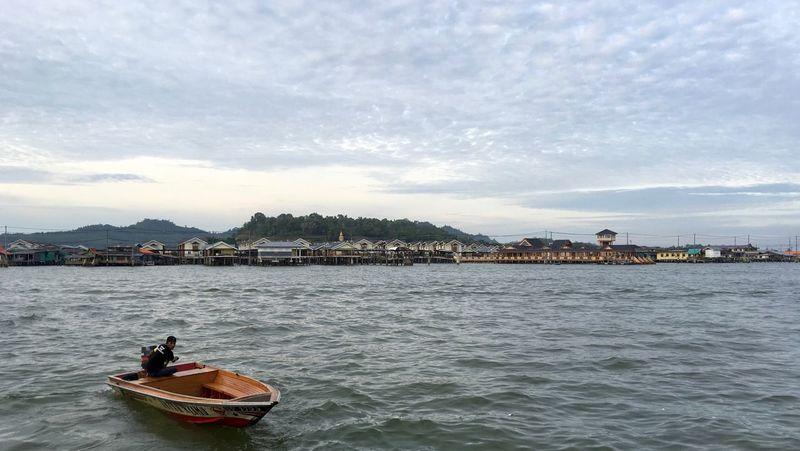 Water Village in Brunei Water Transportation Boat Waterfront Cloud Cloud - Sky Rippled