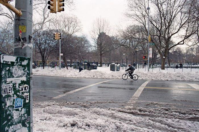 East Village, January 2016 City City Life City Street Snow Bicycle Eastvillage Manhattan Film Photography 35mm Film Lomography Color Negative 100 Elan7 Ishootfilm Streetphoto_color Street Photography Streetphotography Street Shades Of Winter