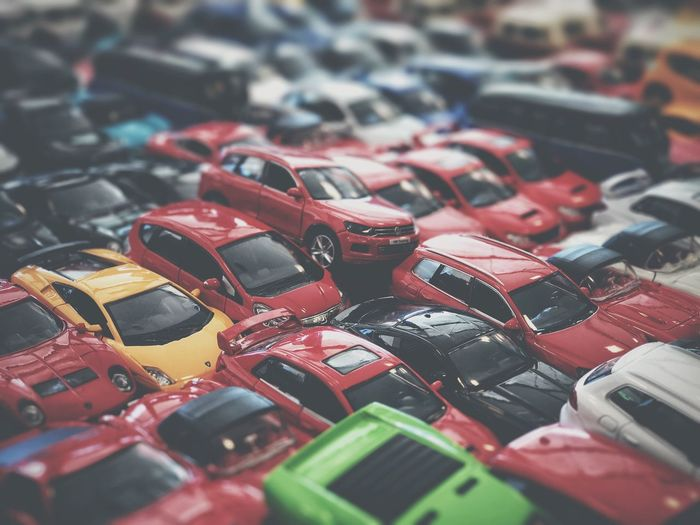 Everyone wants to be the first No People Indoors  Close-up Day Car Traffic Traffic Jam Conceptual Parking Lot Miniature