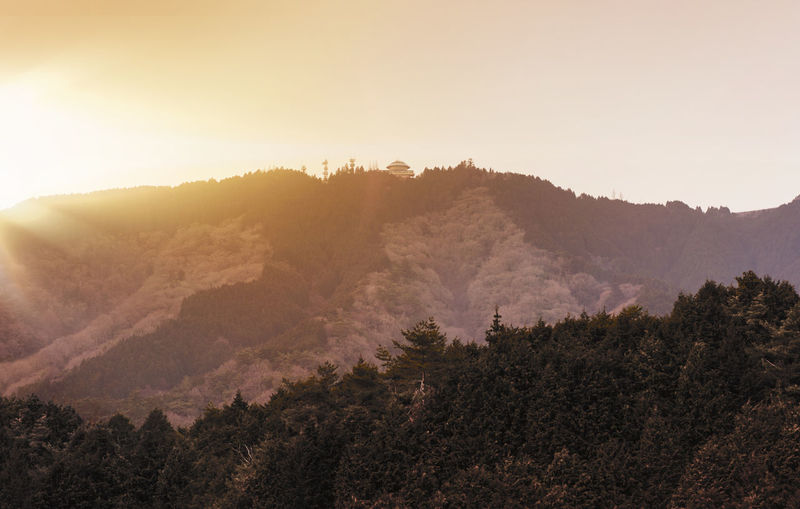 Scenic view of sunset on mount hiei near kyoto with garden museum hiei.