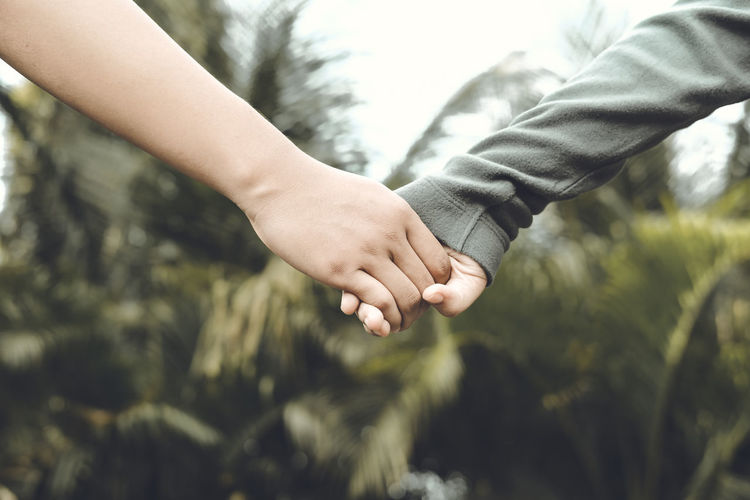 Cropped couple holding hands