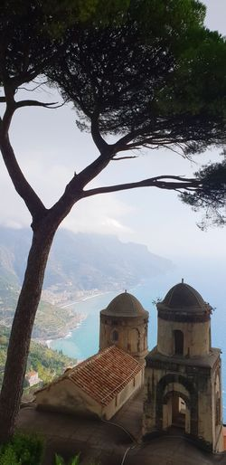 Rufalo gardens Amalfi Coast Ravello Italy Riviera Seaside Mountains And Sky Drone  Landsape Tree Water City Sky Architecture Building Exterior Built Structure Dome Shore