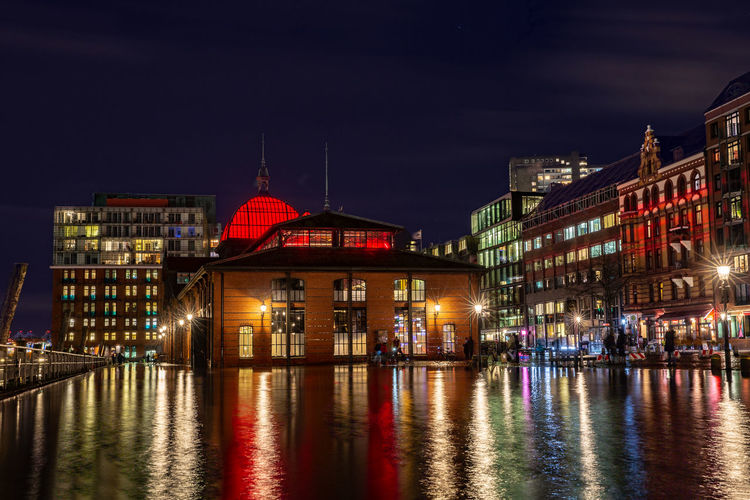 Night Illuminated Architecture Building Exterior Built Structure City Reflection Water Building Waterfront Travel Destinations Sky No People Outdoors Blurred Motion Flood Flooding Hamburg Hamburg Harbour Hamburg Fischmarkt