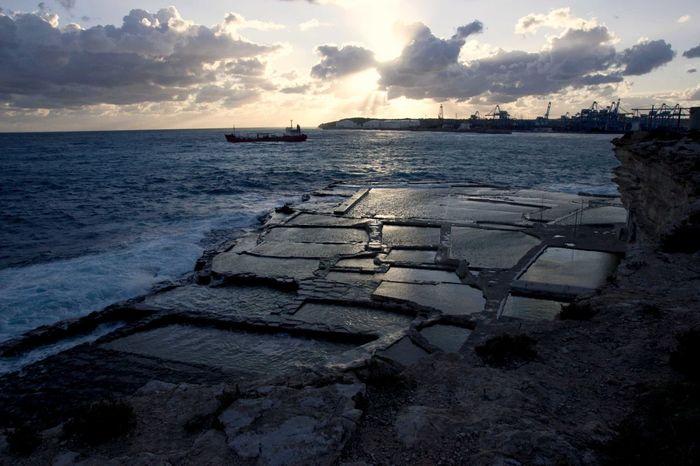 Harbor Malta Salt Beach Beauty In Nature Cloud - Sky Day Freight Ship Freight Transportation Horizon Over Water Malta In M Nature Nautical Vessel No People Outdoors Scenics Sea Shipoo Sky Sunset Tranquil Scene Tranquility Transportation Water