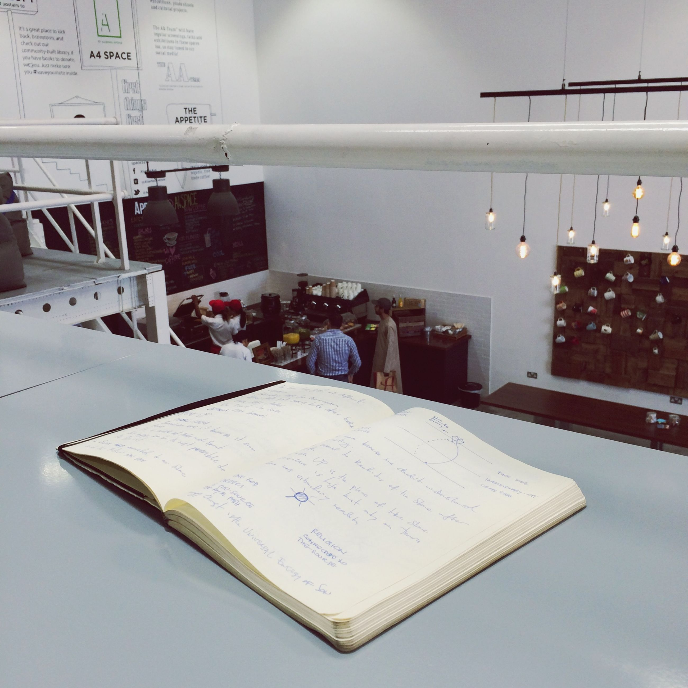 text, communication, western script, indoors, paper, book, education, non-western script, table, no people, message, still life, built structure, hanging, information, architecture, religion, white color, high angle view, day