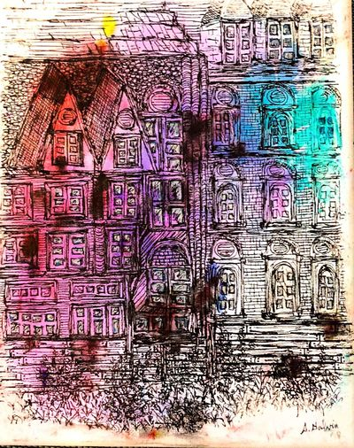 Teal Violet Pink Buildings Sketch Canvas Color Art Canvas Black And White Canvas Art Bruges 💗 Building Sketch Tangling Full Frame Backgrounds Graffiti Creativity Multi Colored Communication Wall - Building Feature No People Pattern Architecture Built Structure