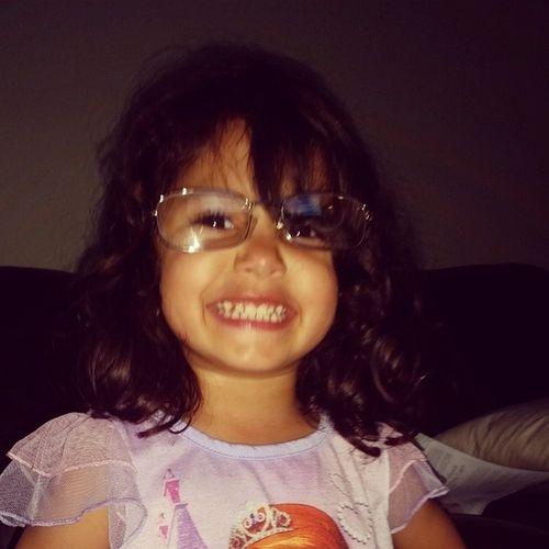 My wise little Sophia with my mom's glasses on she said she looks like a teacher with her million dollar smile Love Familyfirst love my babies ThankyouGod