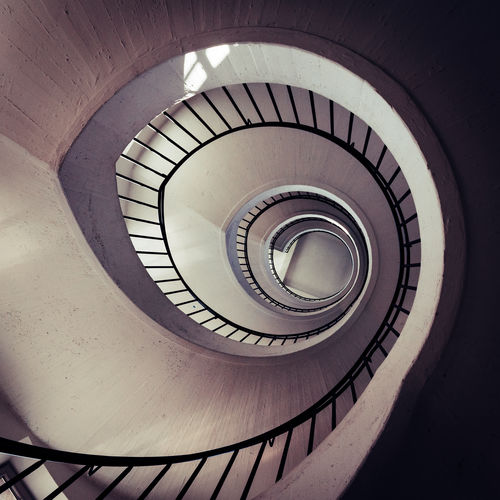 Spiral Stairway #3 Architecture Built Structure Railing No People Steps And Staircases Low Angle View Spiral Indoors  Staircase Pattern Spiral Staircase Design Diminishing Perspective Day Indoors  Architecture_collection Geometric Shape Directly Below Circle Shape Absence