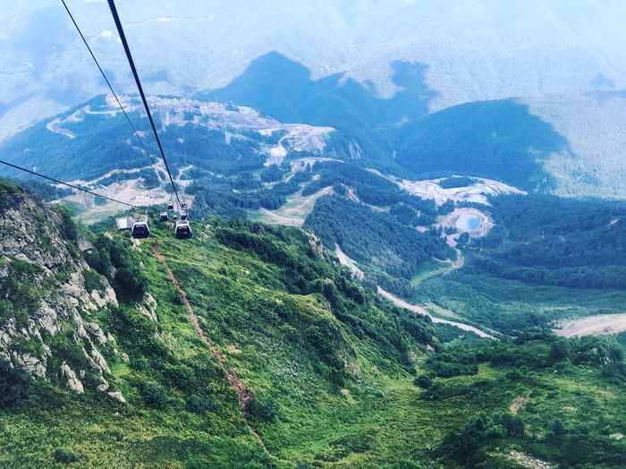 Sochi⛰ Summertime Summer Sochi Mountain Nature Beauty In Nature Tranquil Scene Mountain Range Scenics High Angle View Landscape Overhead Cable Car Sky