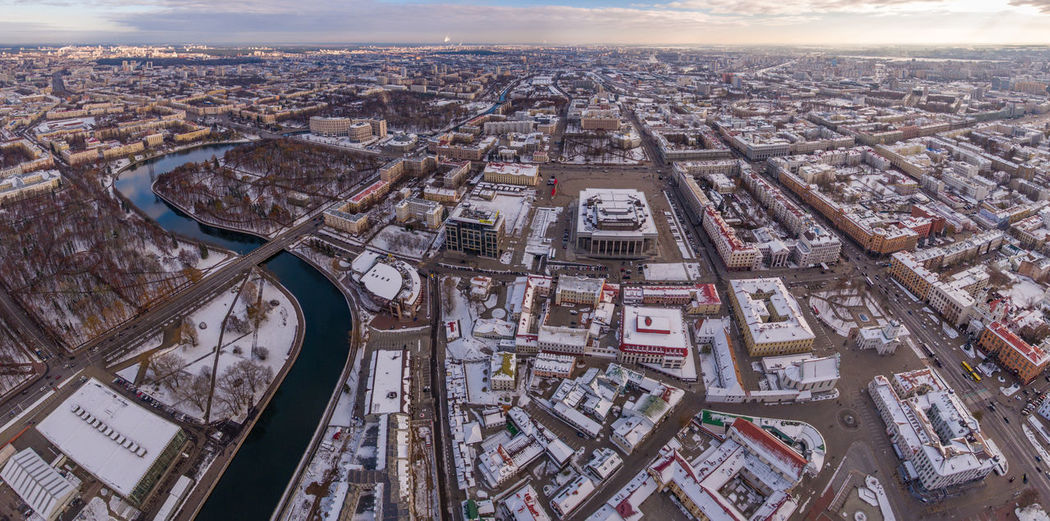 Downtown are of Minsk in early winter afternoon captured with a DJI Phantom drone Belarus City Cityscape Drone  Minsk Rooftop Aerial View Building Exterior High Angle View Nemiga No People Outdoors Park River Snow Snow Covered