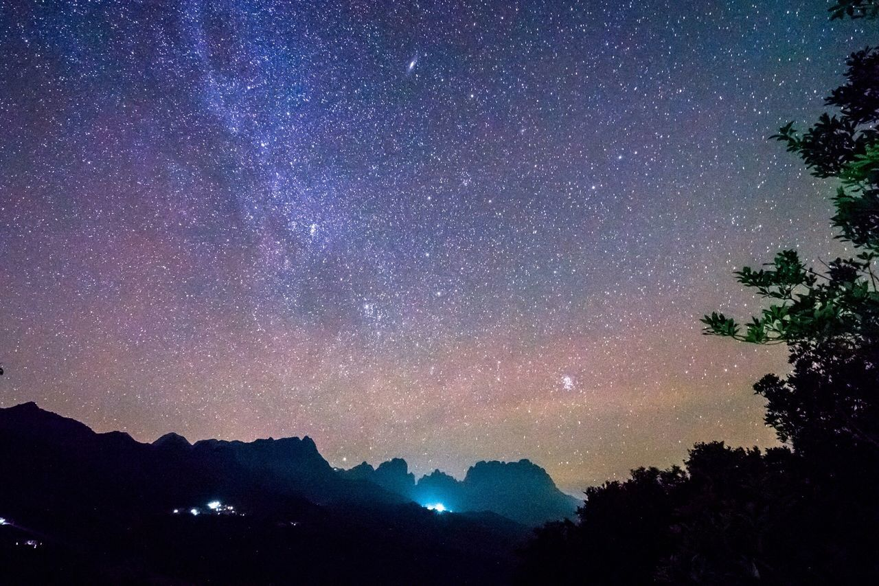 star - space, mountain, night, beauty in nature, nature, scenics, tree, silhouette, sky, tranquil scene, tranquility, no people, outdoors, low angle view, astronomy, galaxy, milky way, space