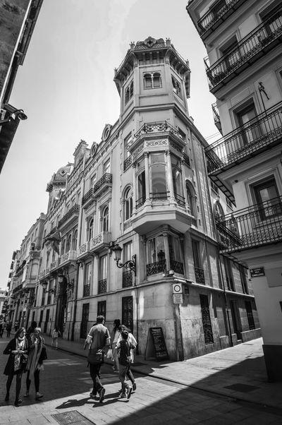 Palacio del Marqués de Castellfort (Valencia - Spain) Architecture Building Exterior City Men Walking Outdoors People Urban Travel Tourism Blackandwhite Palace Valencia, Spain SPAIN