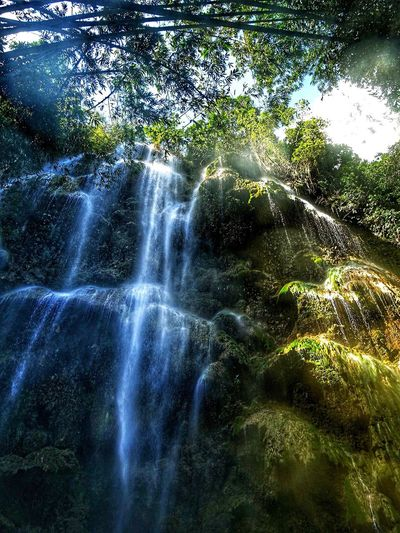 Waterfall Beauty In Nature Nature Motion Scenics Water Long Exposure Tree Idyllic Travel Destinations Forest No People Flowing Water Lush Foliage Green Color Environment Splashing Tranquil Scene Tranquility Non-urban Scene Eye Em Philippines EyeEm Nature Lover Tumalog Falls Green Color Vacations