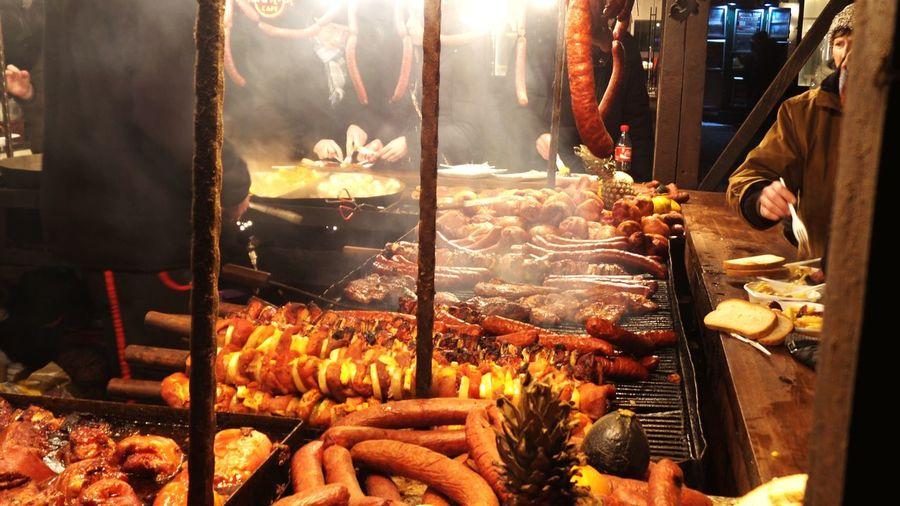 Street Food Christmas Market Krakow Eat Food Festival Street Market Food Booth Meat! Meat! Meat! Krakow Poland Christmas Market Food Cooking Tastyfood