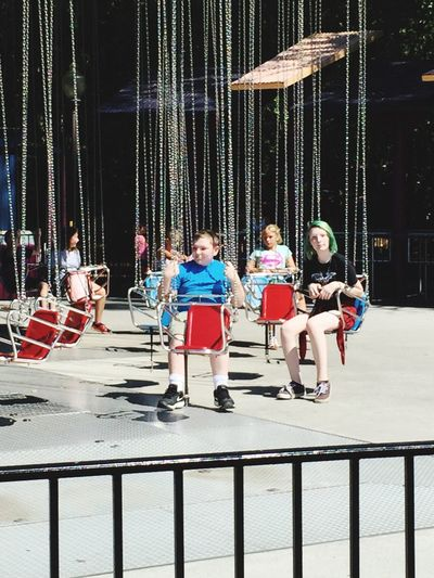 My babies waiting for the swings to go up my sons first time at riding Hanging Out Taking Photos Enjoying Life Family Time Weekend Themepark Sixflags Georgia Love ♥ Kids Being Kids Photographer Photography