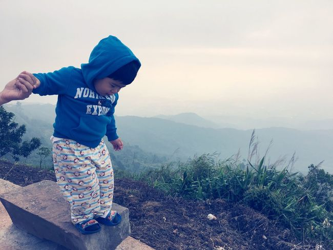 child happy on the mountain Boy EyeEm Selects Child Childhood Real People Full Length Leisure Activity One Person Lifestyles Nature Innocence Outdoors