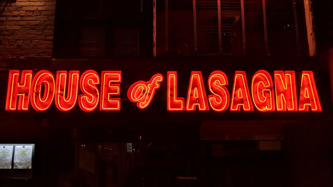 House of Lasagna New York City House Of Lasagna Neon Sign Night Nighttime Nightphotography Night Photography Travel Travel Photography Travel Blogger Good Times Followme Pixelxl2 Commercial Sign