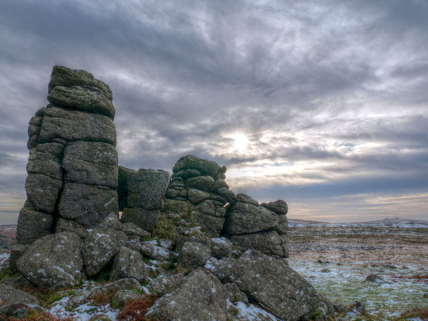 Hound Tor winter's day (HDR) Dartmoor Hound Tor Cloud - Sky Outdoors Rock Formation Sky