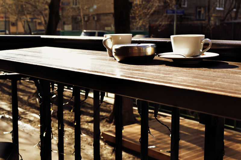 Drinks Bar Countertop Table No People Food And Drink Coffee Outside Bar Sunny Day Smoking Ashtray  Smoking Drinking