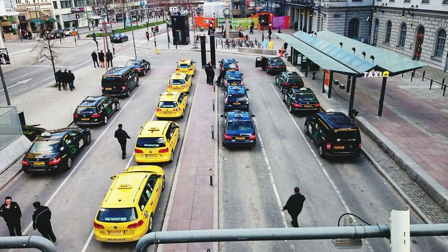 High angle view of taxis at parking lot