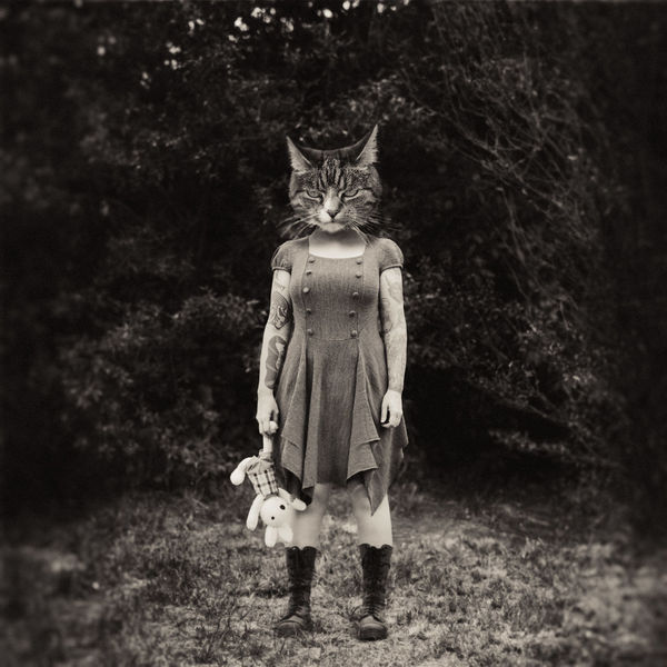 Cheshire Cat Film Alice In Wonderland Vintage Blackandwhite Hybrid Self Portrait PENTAX67 Kodak Portra Montage Cheshirecat Cat Art