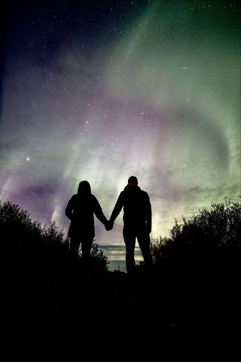 Two People Silhouette Togetherness Sky Night Bonding Full Length Love Real People Childhood Nature Standing Star - Space Travel Adventure Stars Best EyeEm Shot Outdoors Friendship People Iceland Aurora Polaris Nordic Light Northern Lights