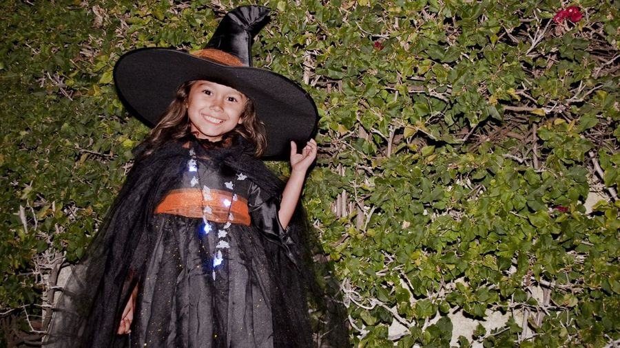 Girl dressed up as witch for halloween