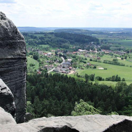 Czech Republic Cloud - Sky Day Land Landscape Mountain Nature No People Outdoors Rocks Sandstone Scenics - Nature Tranquil Scene Tranquility Village