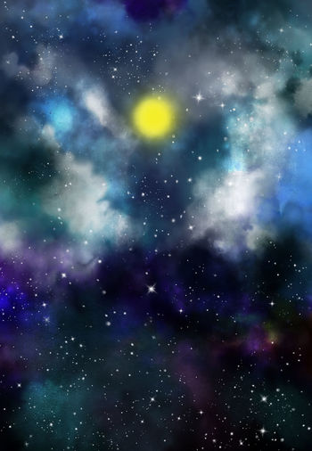 Abstract watercolor digital art painting background, full moon light in blue sky with white clouds and star field Constellation Full Moon Galaxy Twilight Abstract Abstract Backgrounds Astronomy Illustration Nebula Night Sky Space Universe Water Color Painting