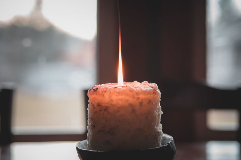 Focus On Foreground Flame Burning Candle Indoors  Indulgence Sweet Food Close-up Heat - Temperature Freshness Day