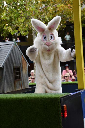 Easter Festival Bendigo Easter Fair Easter Bunny White Rabbit Representation Day No People Fun Looking At Camera Celebration Outdoors Building Exterior