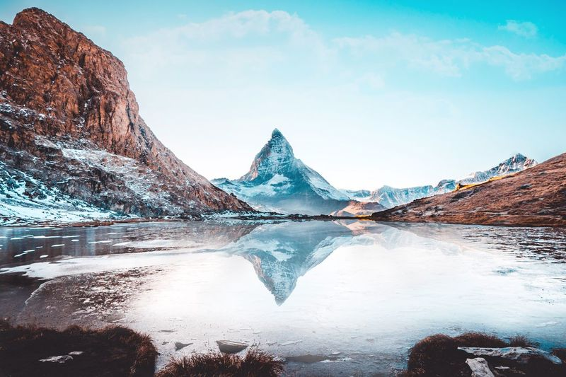 Matterhorn Zermatt EyeEm Selects Beauty In Nature Mountain Nature Water Cold Temperature Tranquil Scene Day Outdoors Lake No People Landscape Sky Tranquility