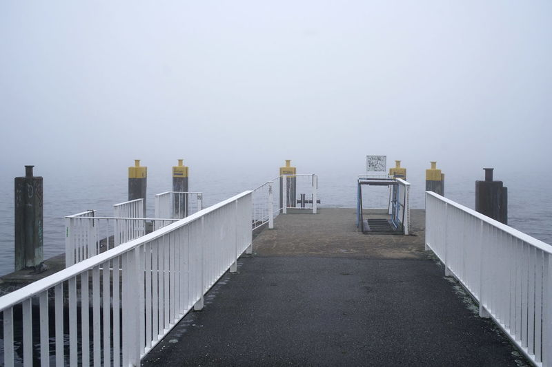 Architecture Built Structure Copy Space Day Fog Foggy Lake Landing Stage Müggelsee Nature No People Outdoors Railing Sky Water