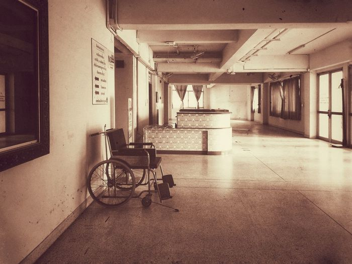 Empty corridor in old building