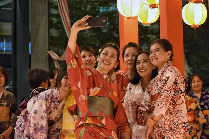Bon Odori Togetherness Human Representation Medium Group Of People Front View In A Row Person Tradition Stage Costume Culture Looking Casual Clothing Taking A Selfie Pure Happiness. Celebration Lifestyles Japanese  Festival Season Japanese Style People And Places Kimono Girls Kimonos Focus On Foreground Looking At Camera