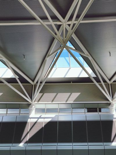 Airport Zurich Architecture Built Structure Indoors  Pattern No People Day Ceiling Sunlight Metal Low Angle View Modern Architectural Feature Building Roof Design Roof Beam Glass - Material