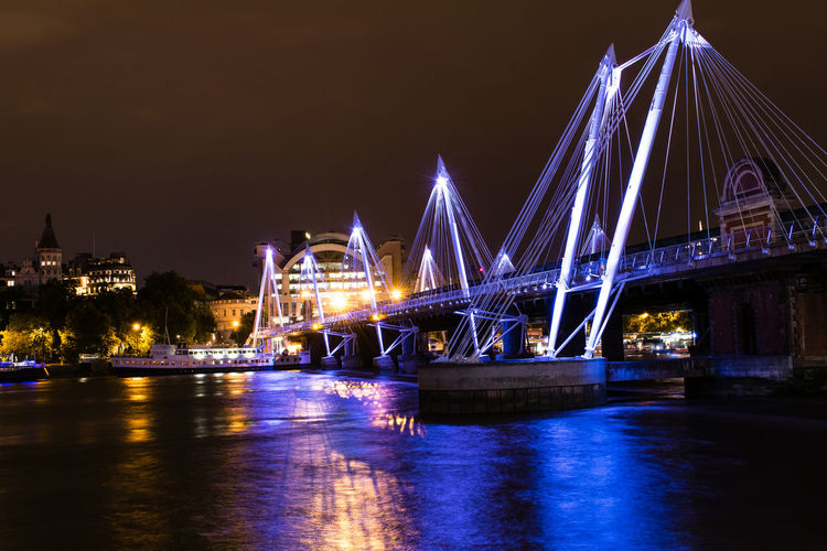 Low Angle View Of Illuminated Bridge Over River