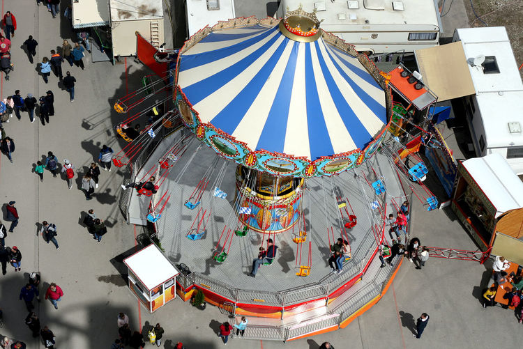 High angle view of people in amusement park
