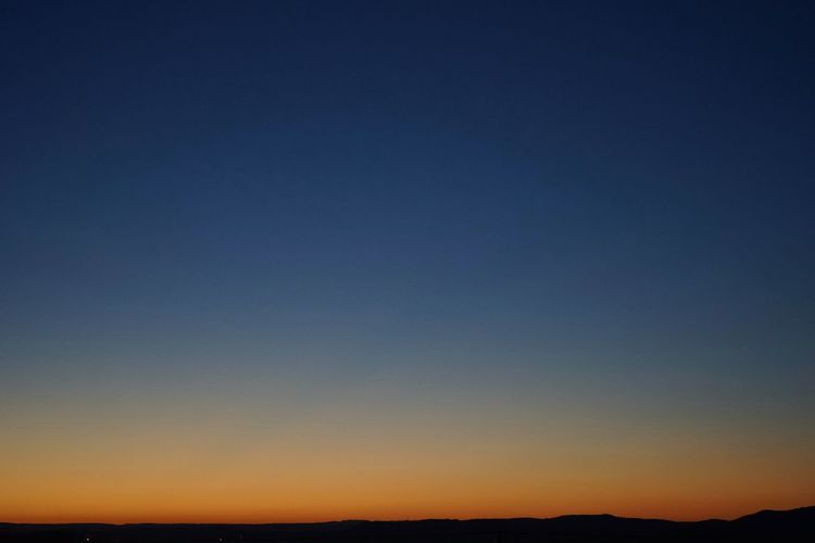 A Different Kind Of Blue Beauty In Nature Clear Sky Horizon Over Land Linear Gradient Majestic Orange Sky Quiet Places Summer Night Sunset