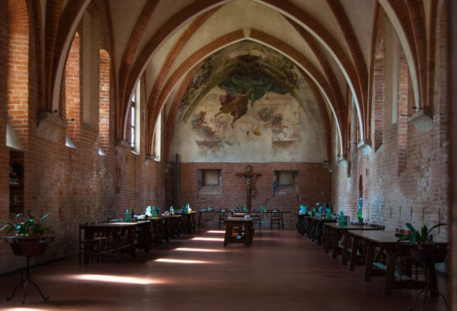 Monastery Absence Altar Arch Architecture Belief Building Built Structure Canteen Chair Chiaravalle, Milano Furniture Gothic Style History Indoors  Mural No People Place Of Worship Religion Religious  Seat Setting Spirituality Table The Past