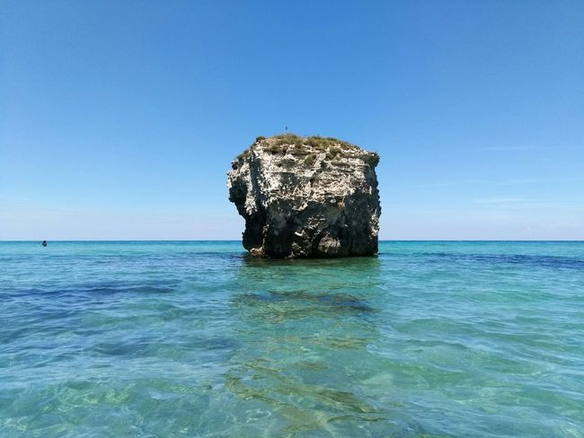 Sea Blue Water Beach Horizon Over Water Tranquility Underwater No People Nature Outdoors Beauty In Nature Scenics Day Clear Sky Sky UnderSea Salento Puglia Lecce Wave Melendugno Sea Life Vacations Beauty In Nature Tranquility Rocks And Water