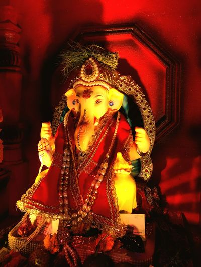 Paint The Town Yellow Cultures Statue Indoors  Illuminated Spirituality Idol Celebration Religion Ganesh