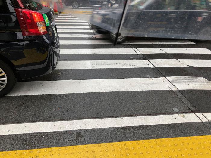 Car Mode Of Transportation Outdoors Rainy Season Road Waiting At The Traffic Light