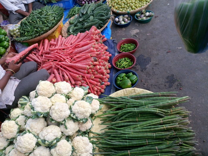 High Angle View Of Vegetables For Sale