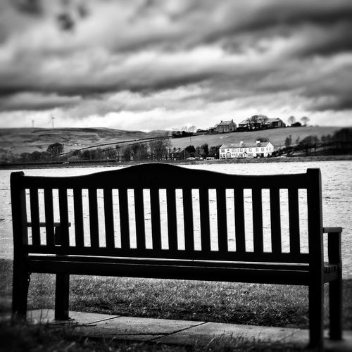 View from a bench over Hollingworth Lake Cold Day Peace And Quiet Check This Out EyeEm Gallery EyeEm Masterclass EyeEm HDR See The World Through My Eyes EyeEm Best Shots - HDR Bench Beautiful Nature Showcase: February Photography Bnw_collection Bnw Simplicity Black & White Eyeem Black And White Black And White No People Scenery Shots Atmospheric Mood Eyeem Photography Eye4photography  Taking Photos HDR