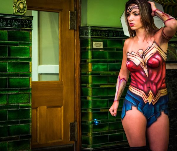 Wonder Woman Young Women Three Quarter Length Young Adult Beautiful Woman Fashion Fashion Model Indoors  Standing Adult Body Painting Art The Portraitist - 2017 EyeEm Awards