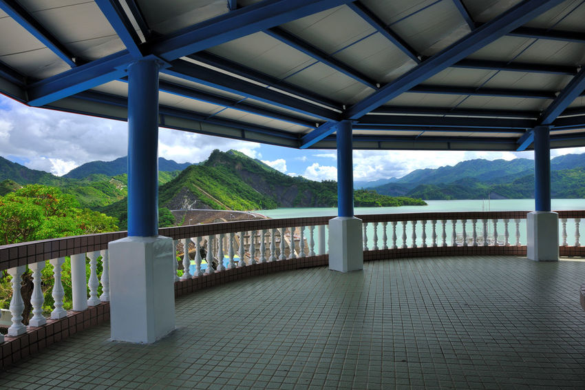 Reservoir landmark landscape, beautiful scenery. Gazebo High Water Source Architectural Column Architecture Beauty In Nature Bridge - Man Made Structure Built Structure Day In Stockholm Indoors  Landmark Mountain Mountain Range Nature No People Observation Deck Railing Reservoir Save Scenics Sea Sky Tree Water