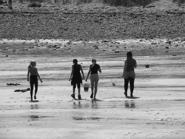 Barmouth Beach Black And White Family Holiday Leisure Activity Outdoors Sand Together Tourism Tourist Vacations Wet Sand Barmouth Beach