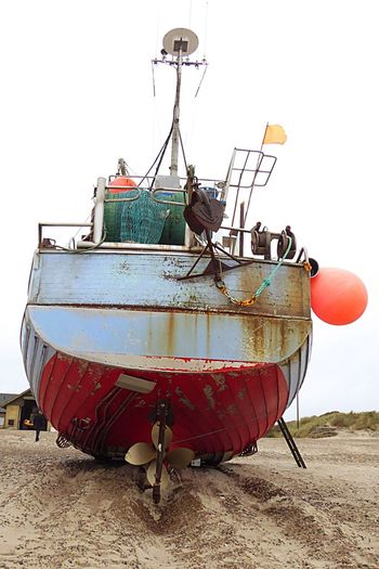 Denmark 🇩🇰🇩🇰🇩🇰 Nautical Vessel Beach Rusty Stranded Boat Fishing Boats Fine Art Photography Trawler Fishing Vessel Water Fine Art Old Fishing Boat Fishing Gear Detail Iron - Metal Day Cloud - Sky Cold Temperature